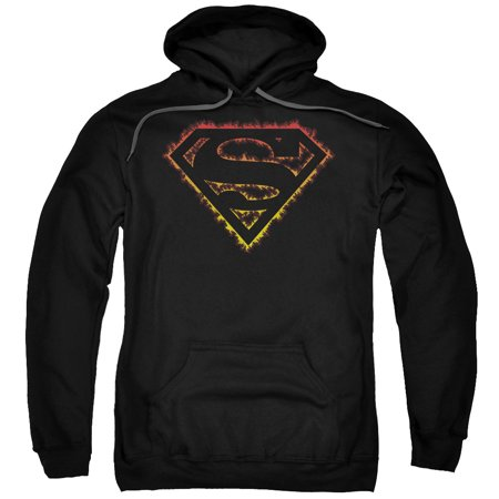 Superman - Flame Outlined Logo - Pull-Over Hoodie - XX-Large