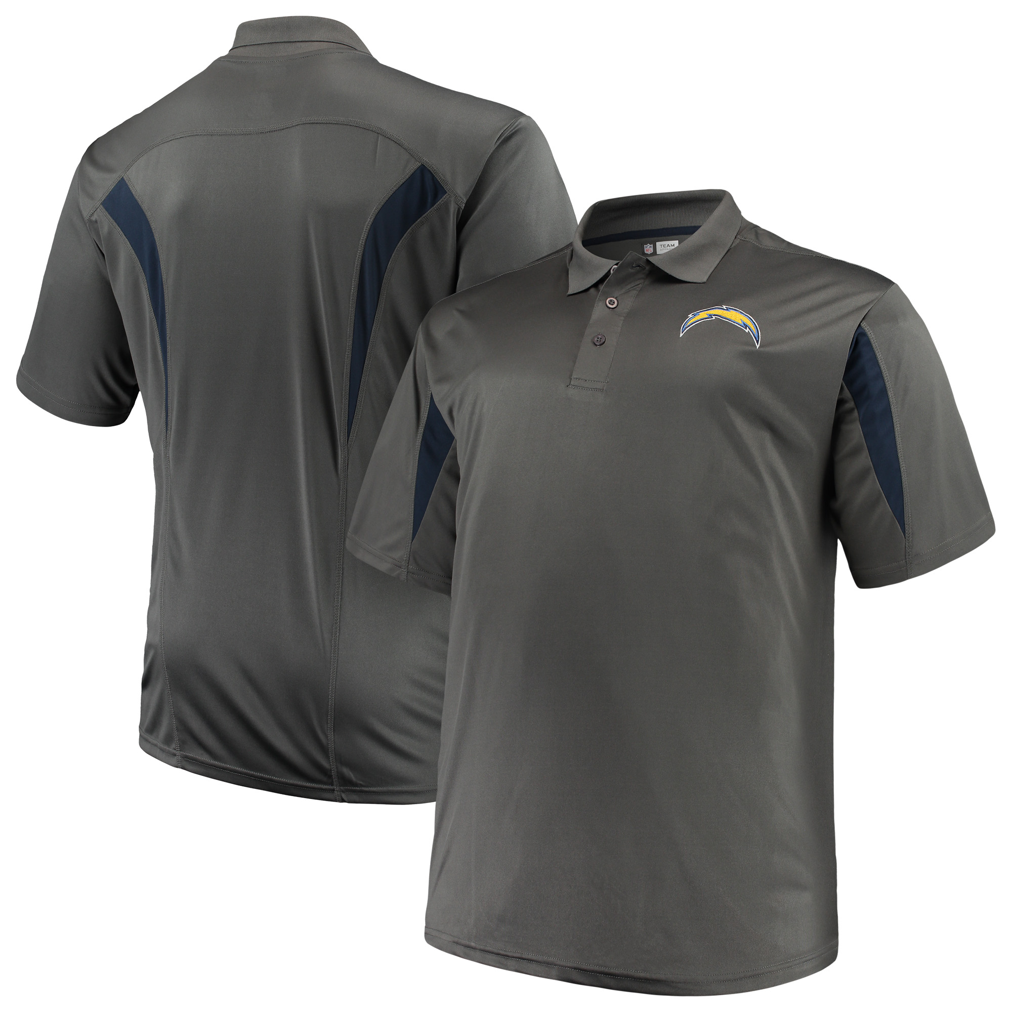 Men's Majestic Charcoal Los Angeles Chargers Big & Tall Pieced Polo
