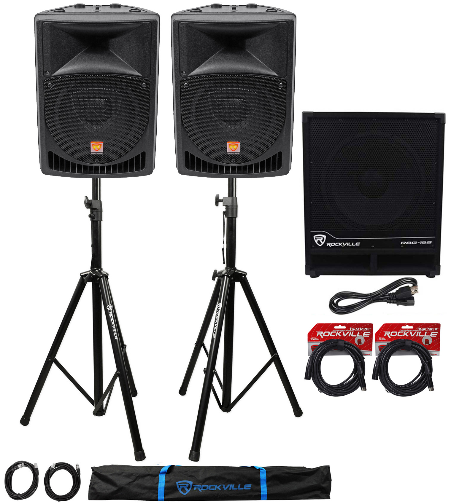 "(2) Rockville RPG8 8"" Powered PA Speakers+Active 15"" Subwoofer+Stands+Cables by ROCKVILLE"