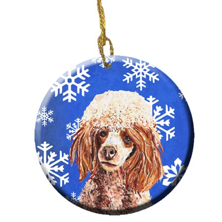 Red Miniature Poodle Winter Snowflakes Ceramic Ornament SC9771CO1