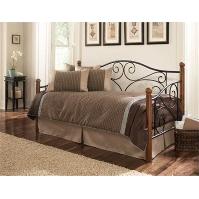 Fashion Bed Group B50330 Doral Complete Metal Day Bed with Euro Top Deck & Trundle Bed Pop-Up Frame, Matte Black Twin... by Fashion Bed Group