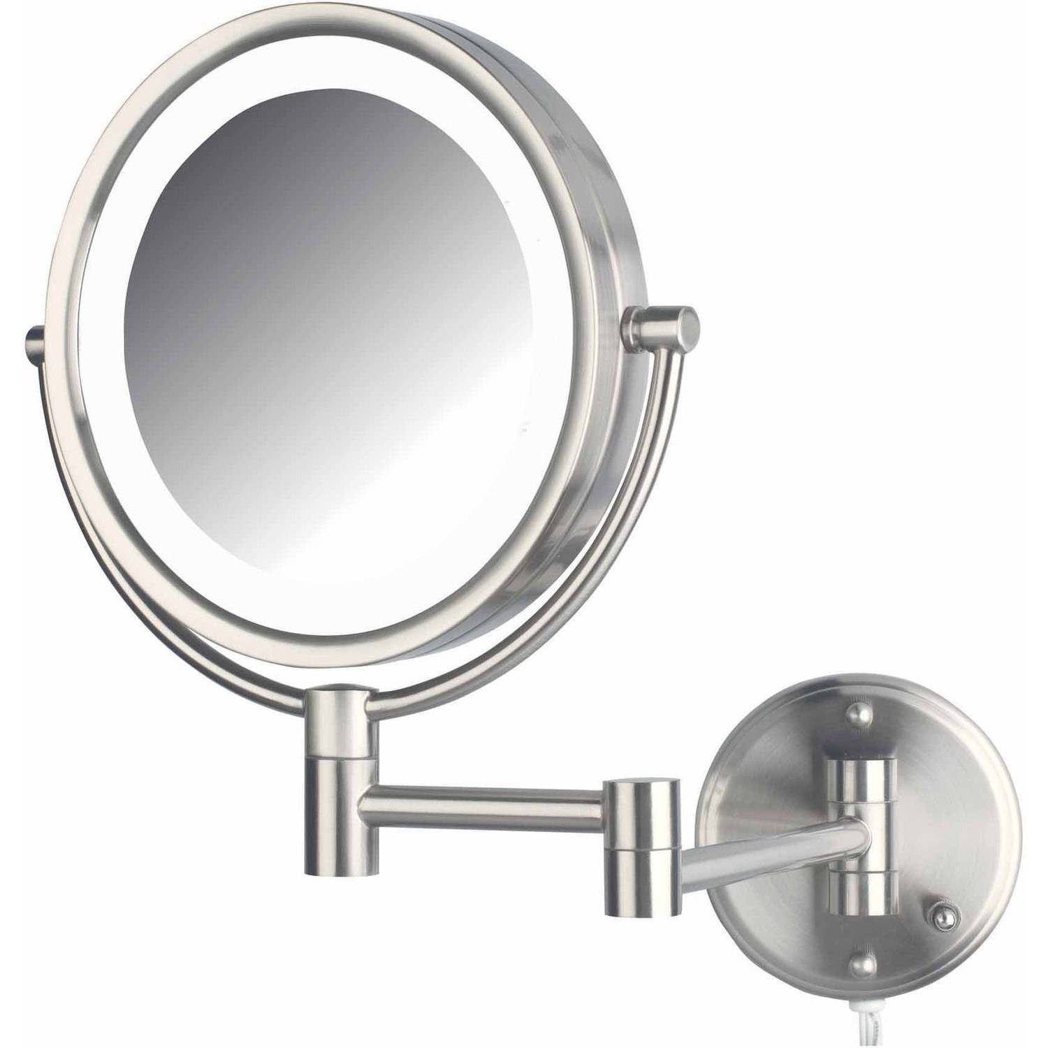 "Jerdon HL88NL 8.5"" LED Lighted Wall Mount Makeup Mirror with 8x Magnification, Nickel Finish"