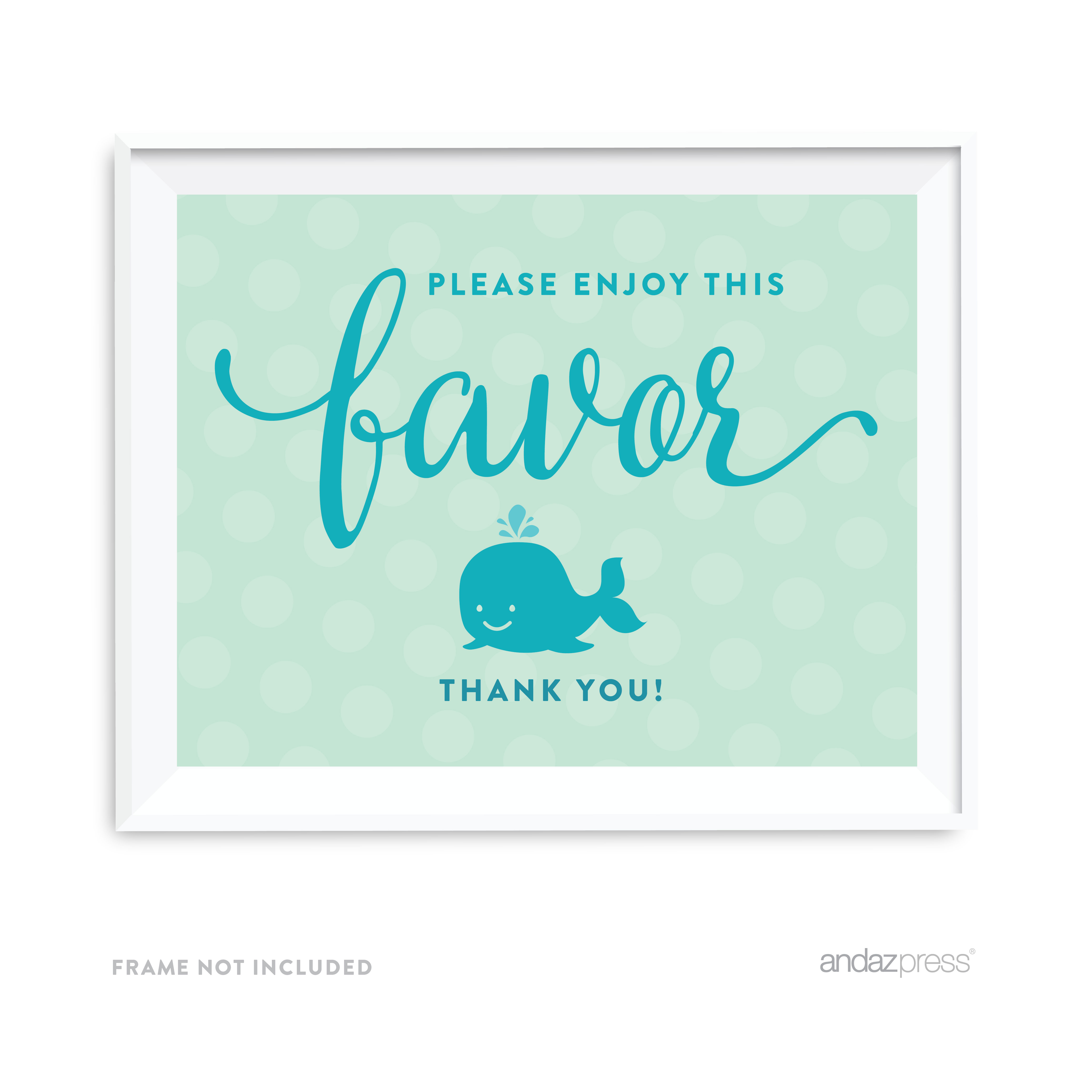 Please Enjoy This Favor, Thank You Boy Whale Nautical Baby Shower Party Signs