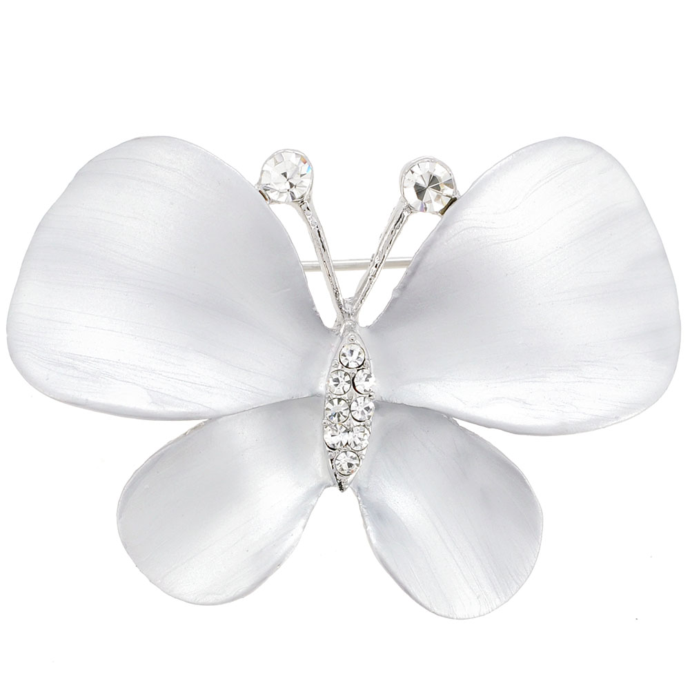 White Butterfly Pin Brooch by
