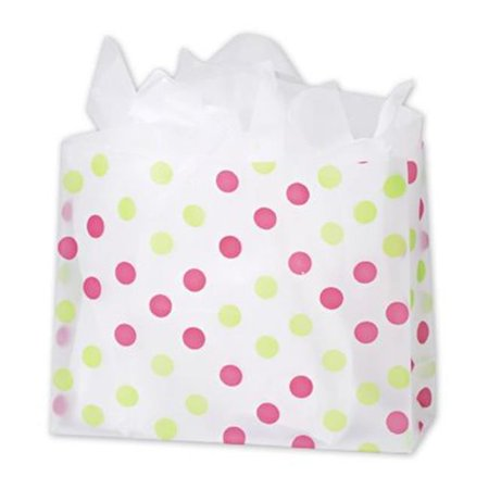 Deluxe Small Business Sales 268 160612 Pgdc 16 X 6 X 12 In  Dots Frosted Flex Loop Shoppers  44  Pink And Green On Clear