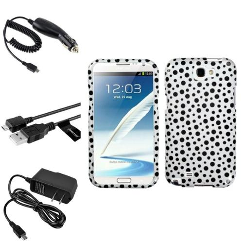 Insten Black Polka Dots Hard Case+2x Charger+USB For Samsung Galaxy Note 2 II