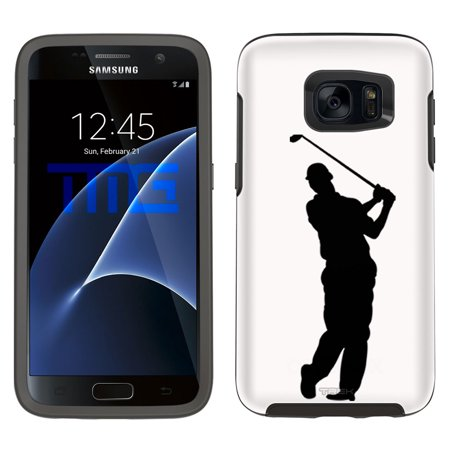 Skin Decal For Otterbox Symmetry Samsung Galaxy S7 Case   Silhouette Golf Player On White