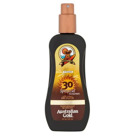 SPF30 Sunscreen Sunblock Spray Gel and Bronzer, Australian Gold