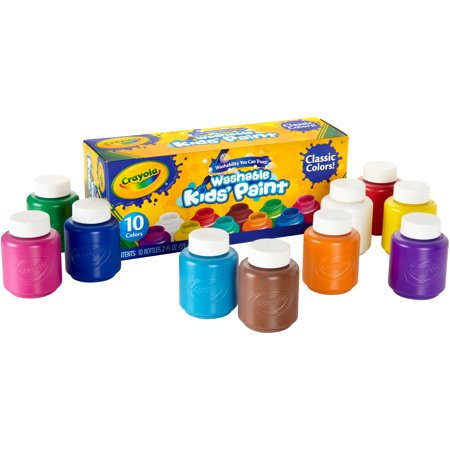 Crayola 10 count Washable Kids Paint in 2 oz. bottles - Non Toxic Crayons