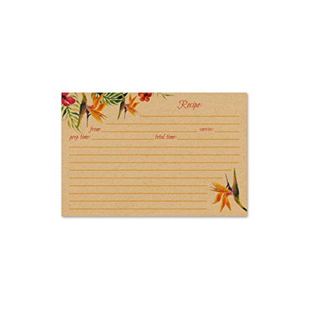 Jot & Mark Recipe Cards Floral Double Sided 4x6 (Set of 50) (Birds of Paradise (Kraft)) ()