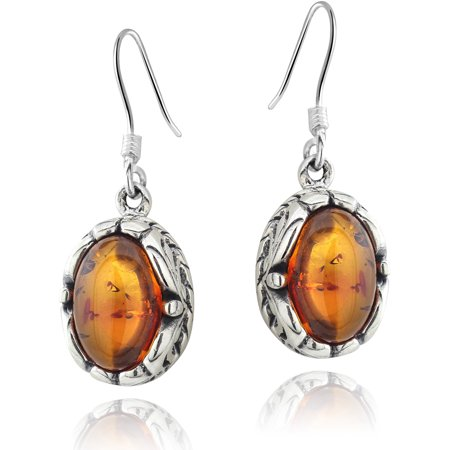 Image of Amber Nights Oval-Shaped Amber Sterling Silver Wire Hook Earrings