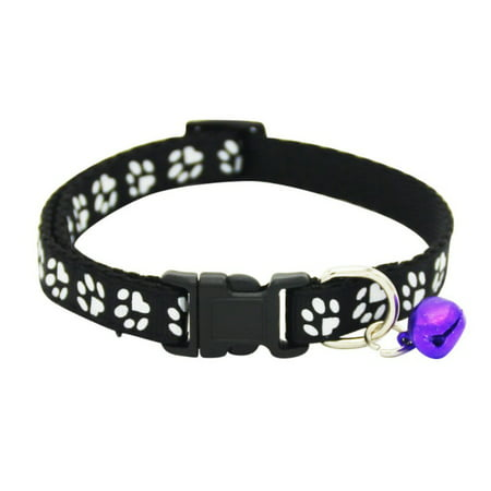 Small Pet Dog Cat Safety Adjustable Paw Printed Puppy Necklace Collar With Bell