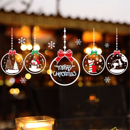 1-4PCS Christmas Ornaments Snowman Window Glass Wall Sticker DIY Decoration For Home Bar Shopping Mall 27.6 x 19.7''