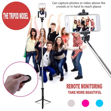 VENSE Upgraded Deals Stainless Steel 4 in 1 Wireless Bluetooth 4.0 Remote Shutter+Handheld Cellphone Selfie Stick Monopod+Tripod+Holder for IOS Android SmartPhone - image 1 of 8