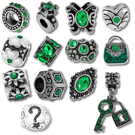 Green Birthstone Beads and Charms for Pandora Charm Bracelets - May Emerald (Pandora Sister Charm)
