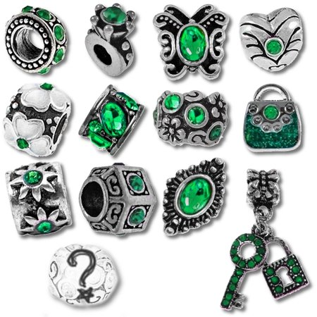 Green Claddagh Charm - Green Birthstone Beads and Charms for Pandora Charm Bracelets - May Emerald
