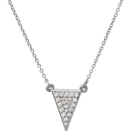 Diamond Triangle Necklace - Platinum 1/5 Ct Diamond Triangle 16
