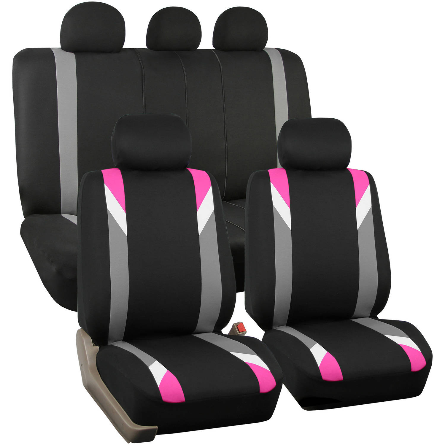 FH Group Airbag Compatible Modernistic Flat Cloth Full Set Seat Covers, Pink