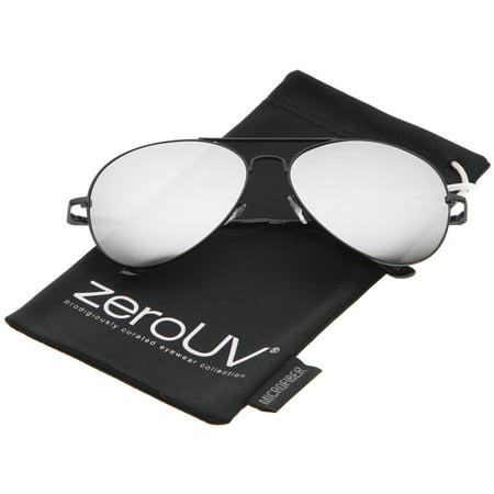 zeroUV - Classic Metal Frame Spring Hinges Color Mirror Lens Aviator Sunglasses - 58mm (Sonnenbrille Zerouv)