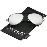 zeroUV - Classic Metal Frame Spring Hinges Color Mirror Lens Aviator Sunglasses - 58mm