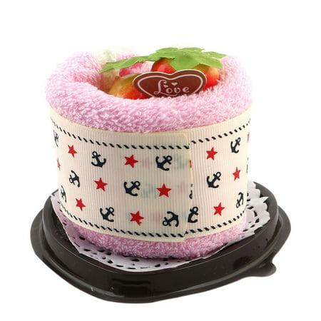 Wedding Pink Microfiber Heart Shape Simulated Strawberry Decor Cake Gift Towel