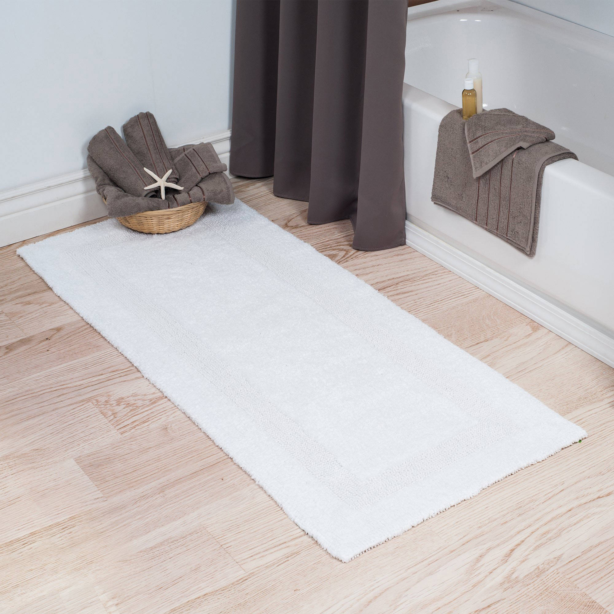 New  Home Silver 2 Ft X 5 Ft Cotton Reversible Extra Long Bath Rug Runner