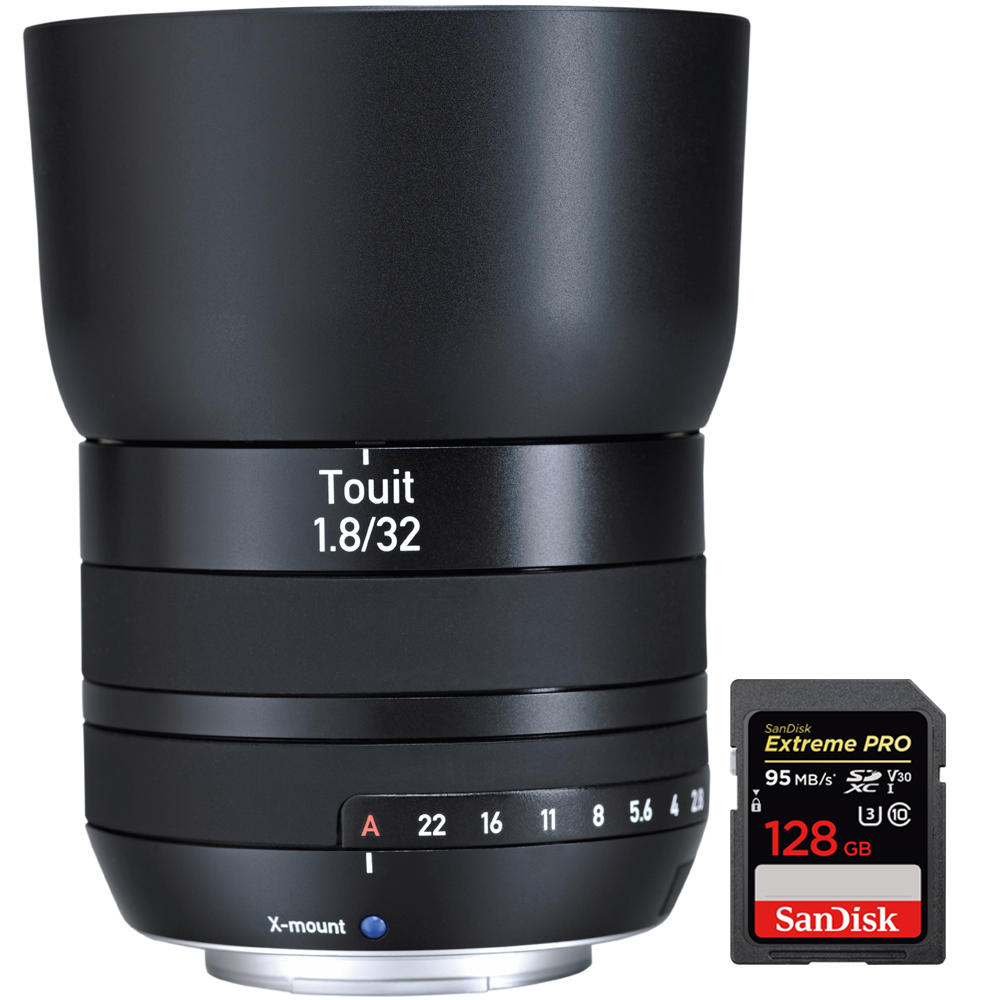 Zeiss Touit 32mm f/1.8 Sony E-Mount Lens (2030-678) with Sandisk Extreme PRO SDXC 128GB UHS-1 Memory Card