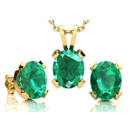 3 1 2 Carat Oval Shape Emerald Necklace And Earring Set In 14k Yellow Gold