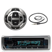 "Kenwood Marine Motorsports Boat Yacht In-Dash Single DIN CD Bluetooth UBS AUX Receiver, Kenwood Wired Remote, 22"" Enrock AM/FM Antenna"