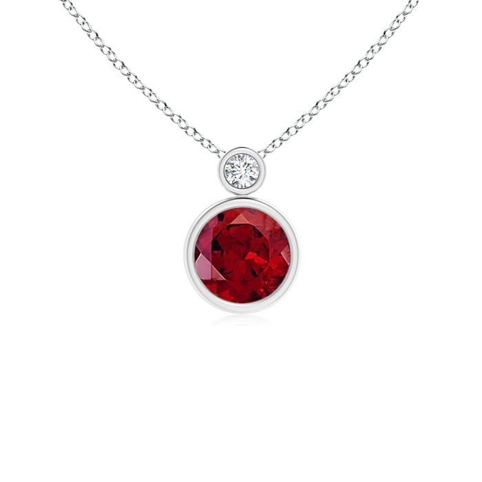 Angara Round Garnet Bezel-Set Necklace for Her in Platinum qp1p9c9RU