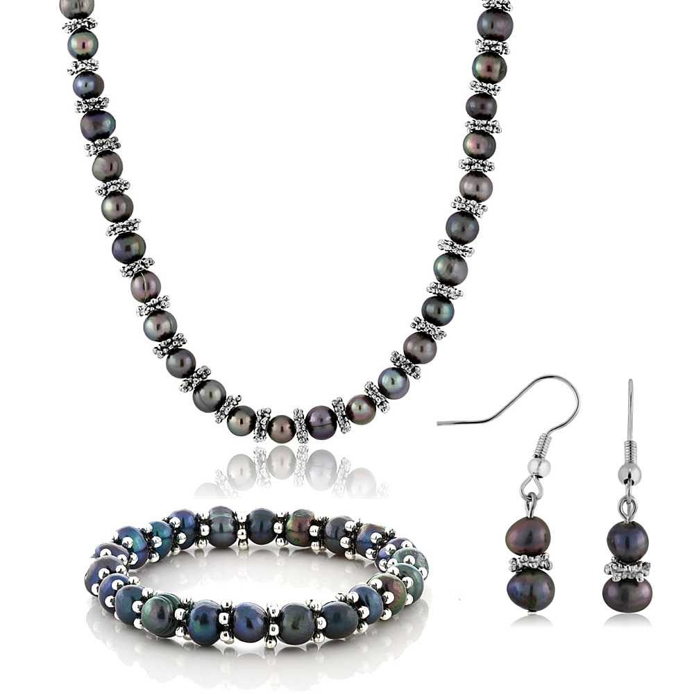 "Black Cultured Freshwater Pearl Necklace Bracelet Earrings Set 18"""