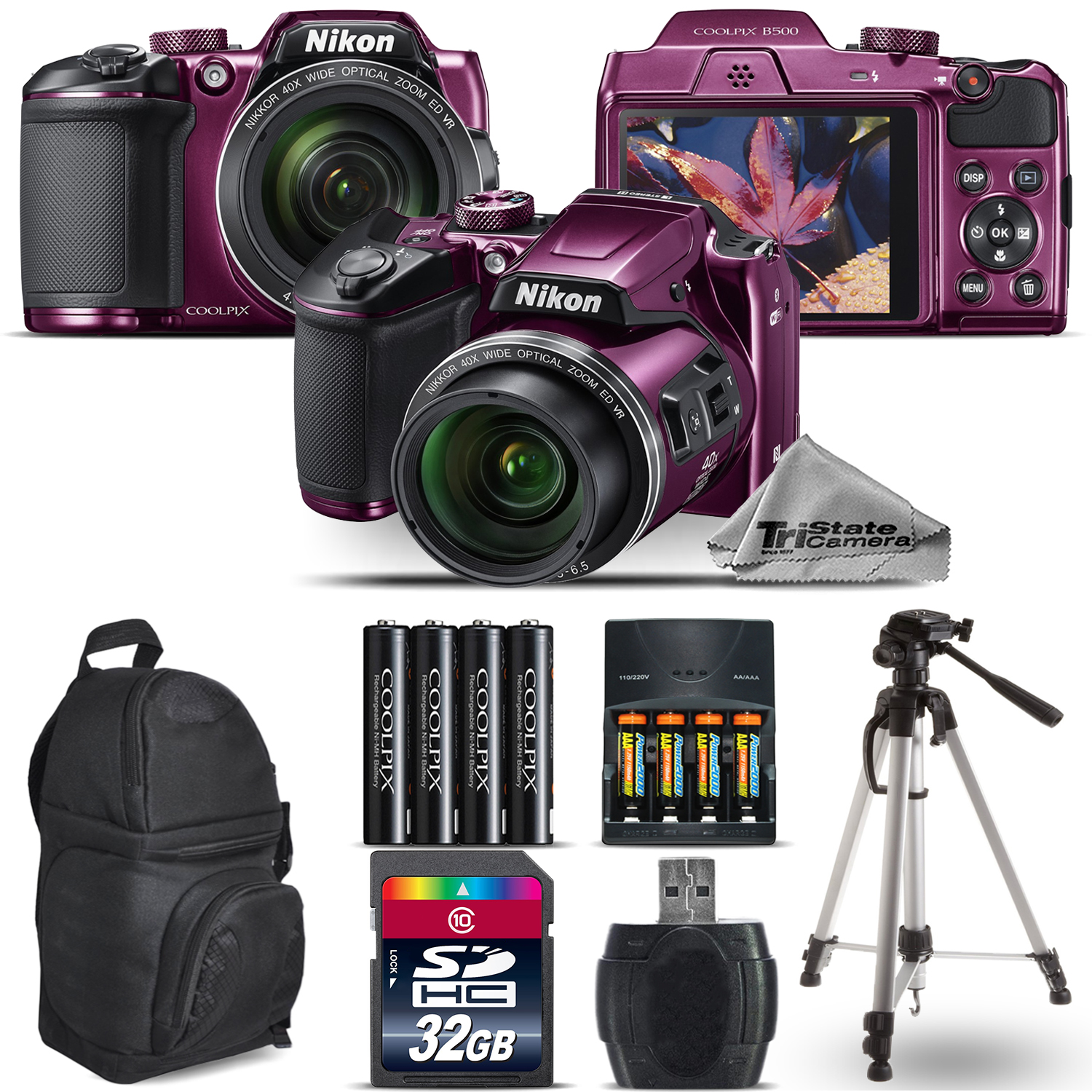 Nikon COOLPIX B500 Plum Camera 40x Zoom + Extra Battery + Backpack - 32GB Bundle