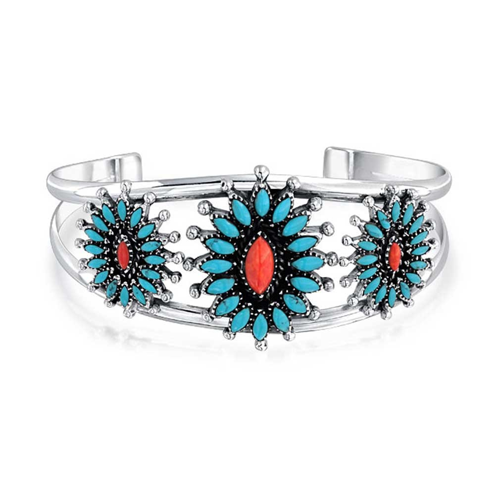 Bling Jewelry Simulated Coral Reconstituted Turquoise Cuff Bracelet 925 Silver by Bling Jewelry