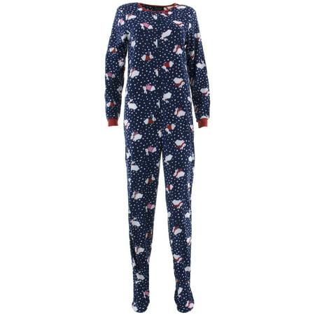 Rene Rofe Women's Winter Bunny Navy Footed Pajamas (Bunny Pajamas)