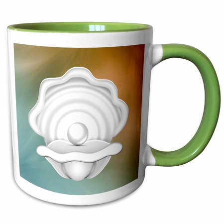 3dRose Print of Trendy White Oyster Shell On Aqua and Amber - Two Tone Green Mug, 11-ounce