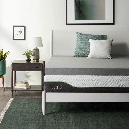 Lucid Comfort Collection 4'' Bamboo Charcoal Memory Foam Mattress Topper