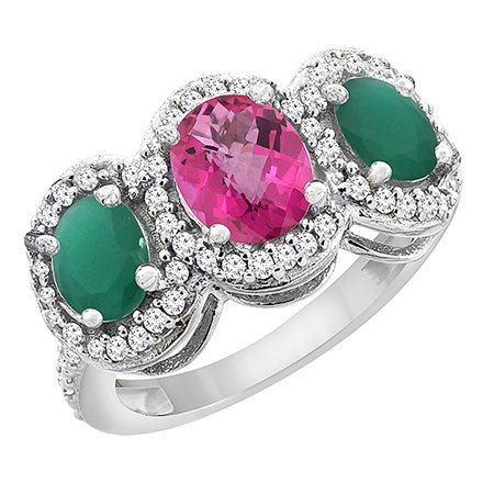 10K White Gold Natural Pink Topaz & Cabochon Emerald 3-Stone Ring Oval Diamond Accent, size 5.5