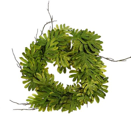 """26"""" Green and Brown Philondrendon Leaves and Twigs Artificial Tropical Wreath - image 2 de 2"""