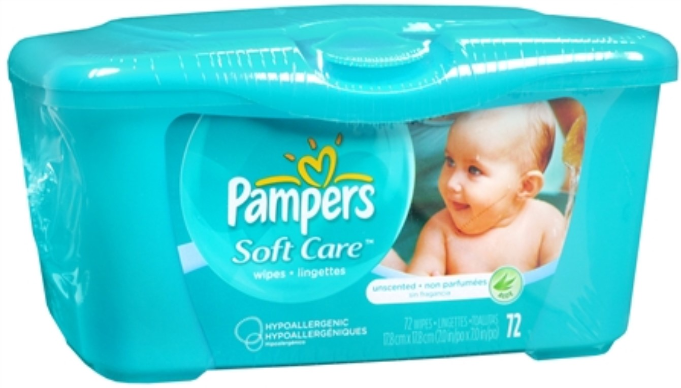 Pampers Natural Aloe Unscented Wipes 72 Each (Pack of 6)
