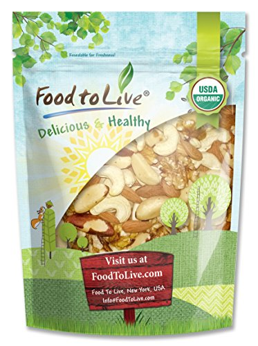 Food To Live Certified Organic Mixed Raw Nuts (Cashews, Brazil Nuts, Walnuts, Almonds) (4... by Food To Live