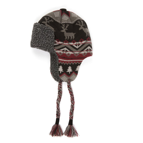 MUK LUKS Men's Nordic Knit Trapper Hat with Sherpa Lining