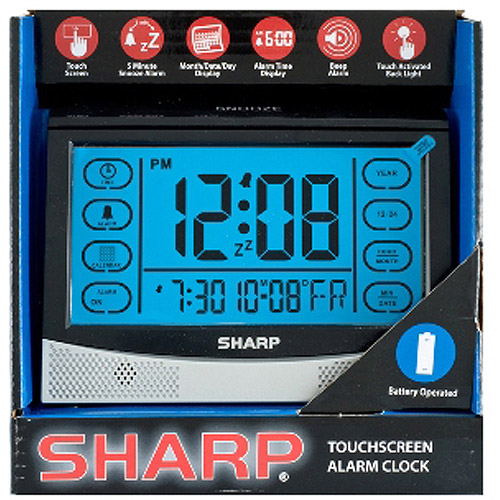 Sharp LCD Touch Screen Alarm Clock, Silver/Black