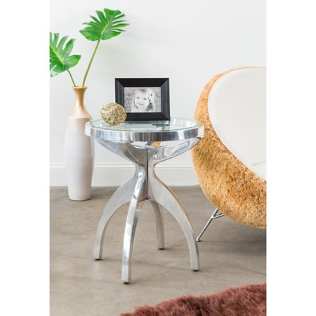 Glass Top Metal Finish - Knox & Harrison Round Metal Table in Polished Nickel Finish with Glass Top