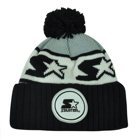 Starter Blank Black Gray Pom Pom Beanie Knit Cuffed Toque Solid Plain Winter ()