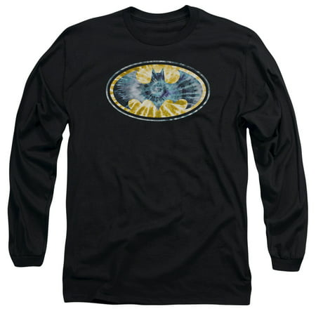 BATMAN/TIE DYE 3-L/S ADULT 18/1-BLACK-XL