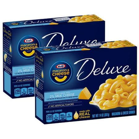 (2 Pack) Kraft Deluxe Macaroni & Cheese Dinner Sauce Made with 2% Milk Cheese, 14 oz Box (Kraft Dinner From Canada)