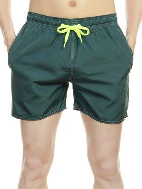 LELINTA Adult Men Beach Swimming Shorts Swim Trunks, Back Pocket with Zipper, Solid Color, Elastic Waist, Navy Blue/ Black/ Dark Grey, M-XXL