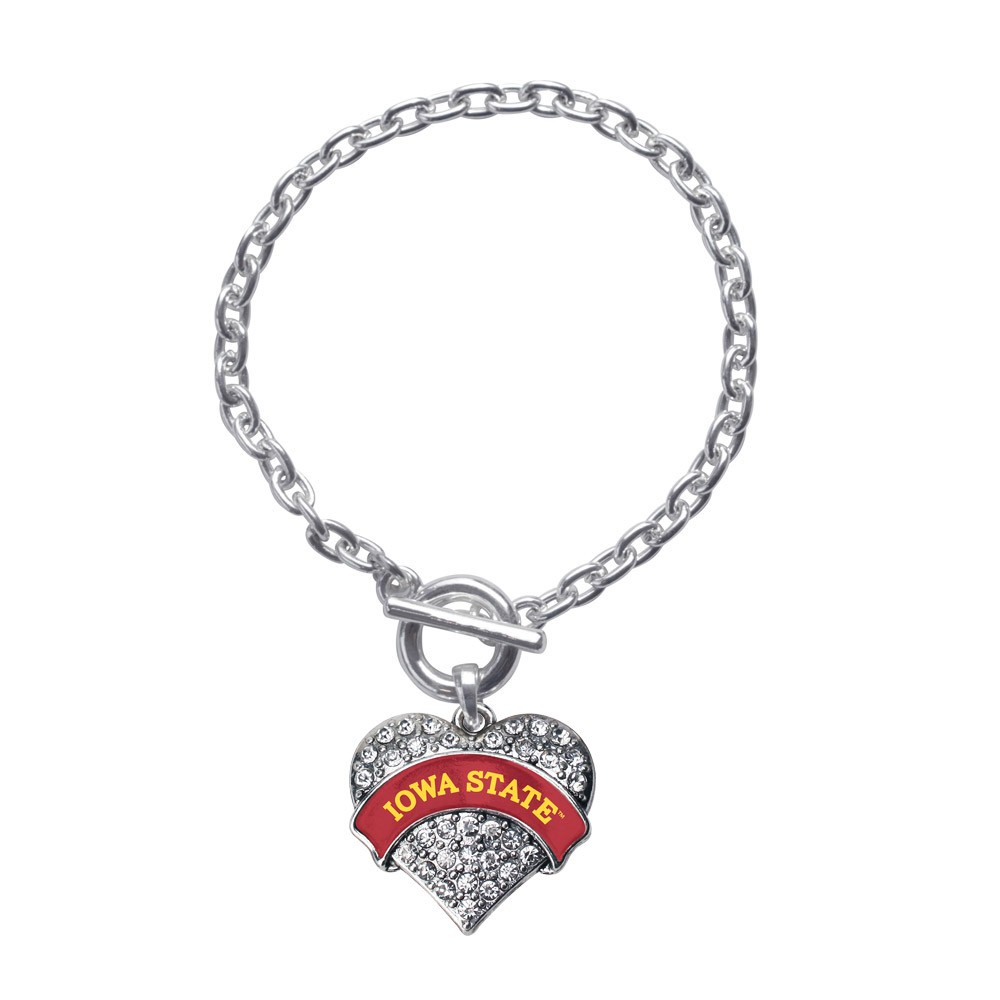 Iowa State University Pave Heart Toggle Bracelet