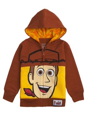Toy Story Disney Big Face Zip-Up Hoodies -Buzz Lightyear, Woody - Boys (Woody Brown, 2T)