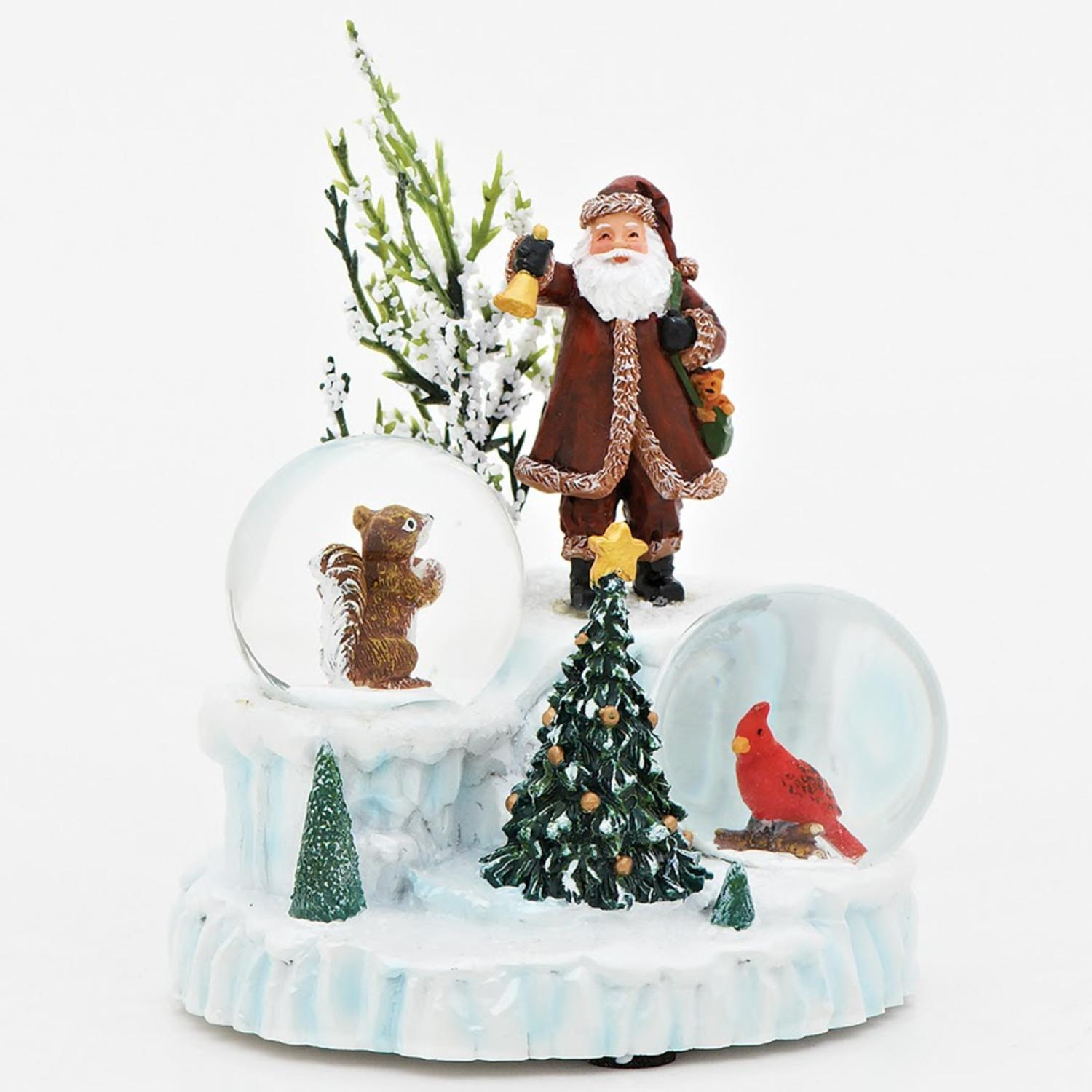 """4.75"""" Santa Claus with Cardinal and Squirrel Snow Globes Christmas Decoration - image 2 of 2"""
